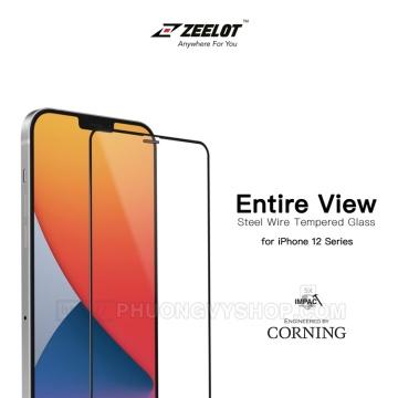 Dán cường lực iPhone 12 mini - ZeeLot 2.5D full viền đen (Thương hiệu Singapore)